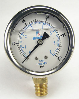 Model BRLF201L Lead Free Liquid Filled Pressure Gauge